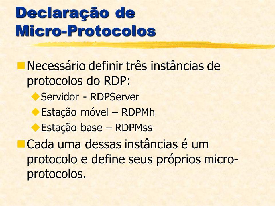 Declaração de Micro-Protocolos Necessário definir três instâncias de protocolos do RDP: Necessário definir três instâncias de protocolos do RDP: Servidor - RDPServer Servidor - RDPServer Estação móvel – RDPMh Estação móvel – RDPMh Estação base – RDPMss Estação base – RDPMss Cada uma dessas instâncias é um protocolo e define seus próprios micro- protocolos.