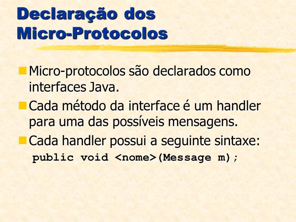 Declaração dos Micro-Protocolos Micro-protocolos são declarados como interfaces Java.