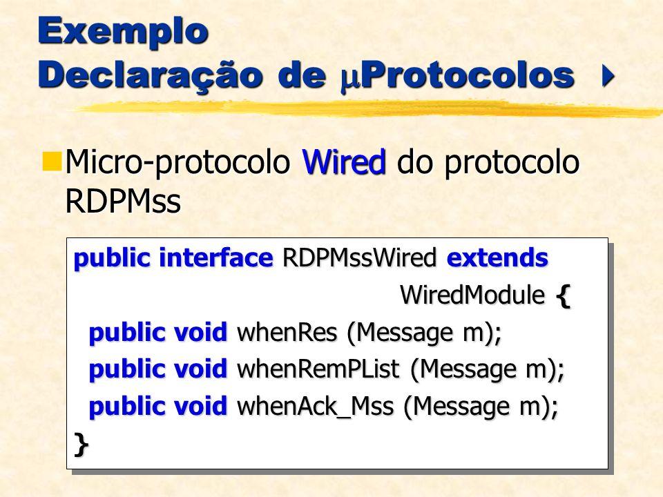 Exemplo Declaração de Protocolos Exemplo Declaração de Protocolos Micro-protocolo Wired do protocolo RDPMss Micro-protocolo Wired do protocolo RDPMss