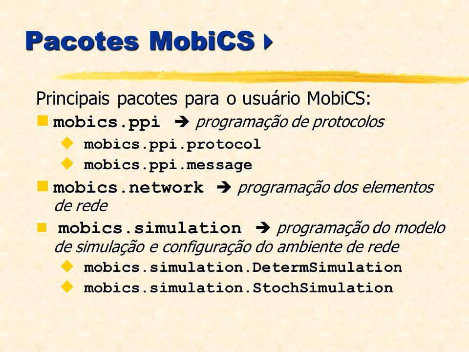Pacotes MobiCS Pacotes MobiCS Principais pacotes para o usuário MobiCS: mobics.ppi programação de protocolos mobics.ppi programação de protocolos mobics.ppi.protocol mobics.ppi.protocol mobics.ppi.message mobics.ppi.message mobics.network programação dos elementos de rede mobics.network programação dos elementos de rede mobics.simulation programação do modelo de simulação e configuração do ambiente de rede mobics.simulation programação do modelo de simulação e configuração do ambiente de rede mobics.simulation.DetermSimulation mobics.simulation.DetermSimulation mobics.simulation.StochSimulation mobics.simulation.StochSimulation