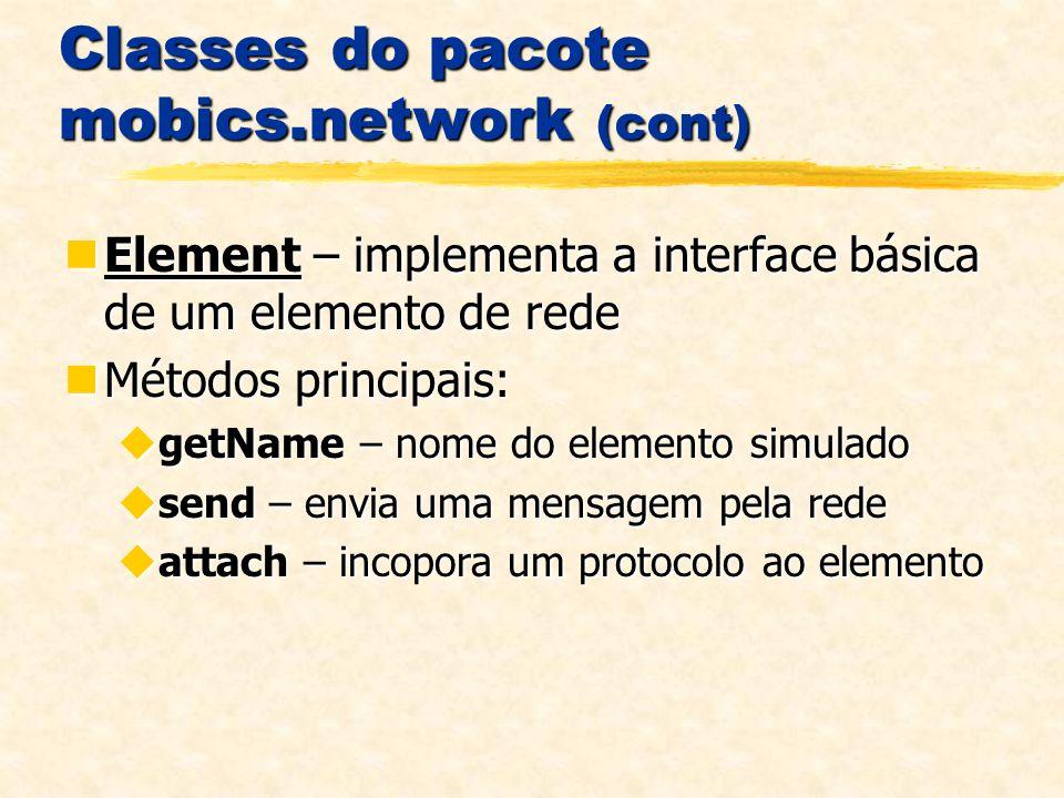 Classes do pacote mobics.network (cont) Element – implementa a interface básica de um elemento de rede Element – implementa a interface básica de um elemento de rede Métodos principais: Métodos principais: getName – nome do elemento simulado getName – nome do elemento simulado send – envia uma mensagem pela rede send – envia uma mensagem pela rede attach – incopora um protocolo ao elemento attach – incopora um protocolo ao elemento