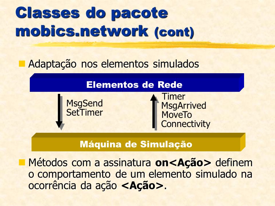 Classes do pacote mobics.network (cont) Adaptação nos elementos simulados Adaptação nos elementos simulados Métodos com a assinatura on definem o comportamento de um elemento simulado na ocorrência da ação.