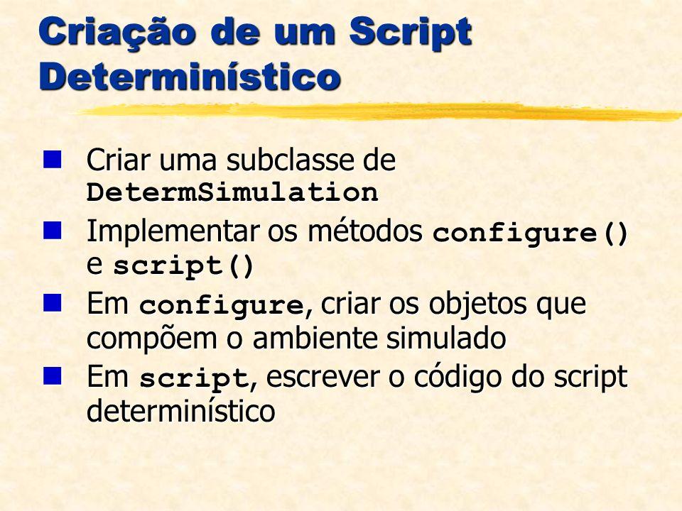 Criação de um Script Determinístico Criar uma subclasse de DetermSimulation Criar uma subclasse de DetermSimulation Implementar os métodos configure() e script() Implementar os métodos configure() e script() Em configure, criar os objetos que compõem o ambiente simulado Em configure, criar os objetos que compõem o ambiente simulado Em script, escrever o código do script determinístico Em script, escrever o código do script determinístico