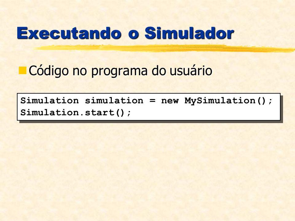 Executando o Simulador Código no programa do usuário Código no programa do usuário Simulation simulation = new MySimulation(); Simulation.start(); Simulation simulation = new MySimulation(); Simulation.start();