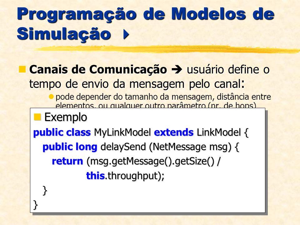 Programação de Modelos de Simulação Programação de Modelos de Simulação Canais de Comunicação usuário define o tempo de envio da mensagem pelo canal : Canais de Comunicação usuário define o tempo de envio da mensagem pelo canal : pode depender do tamanho da mensagem, distância entre elementos, ou qualquer outro parâmetro (nr.