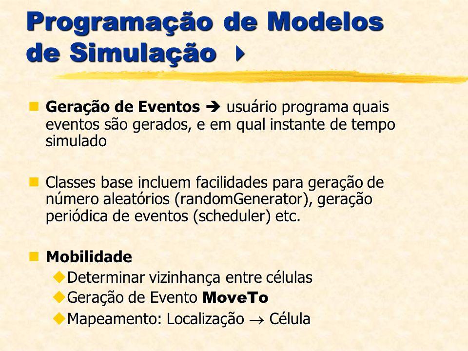 Programação de Modelos de Simulação Programação de Modelos de Simulação Geração de Eventos usuário programa quais eventos são gerados, e em qual instante de tempo simulado Geração de Eventos usuário programa quais eventos são gerados, e em qual instante de tempo simulado Classes base incluem facilidades para geração de número aleatórios (randomGenerator), geração periódica de eventos (scheduler) etc.