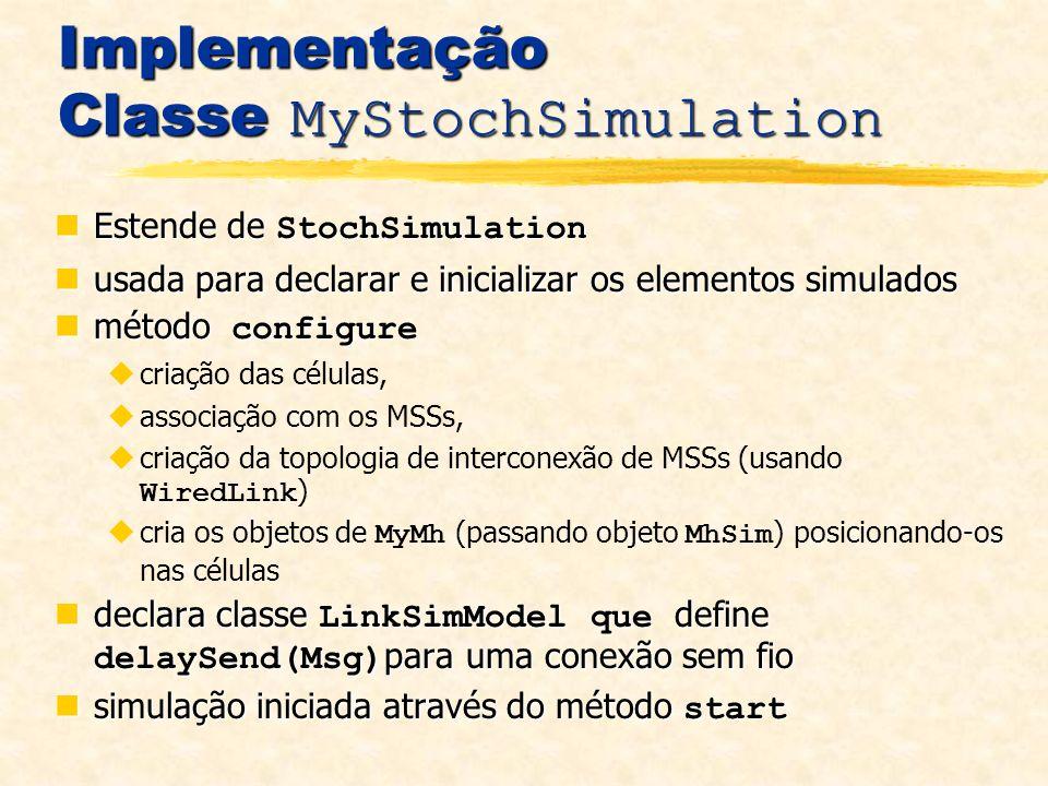 Implementação Classe MyStochSimulation Estende de StochSimulation Estende de StochSimulation usada para declarar e inicializar os elementos simulados usada para declarar e inicializar os elementos simulados método configure método configure criação das células, associação com os MSSs, criação da topologia de interconexão de MSSs (usando WiredLink ) cria os objetos de MyMh (passando objeto MhSim ) posicionando-os nas células declara classe LinkSimModel que define delaySend(Msg) para uma conexão sem fio declara classe LinkSimModel que define delaySend(Msg) para uma conexão sem fio simulação iniciada através do método start simulação iniciada através do método start