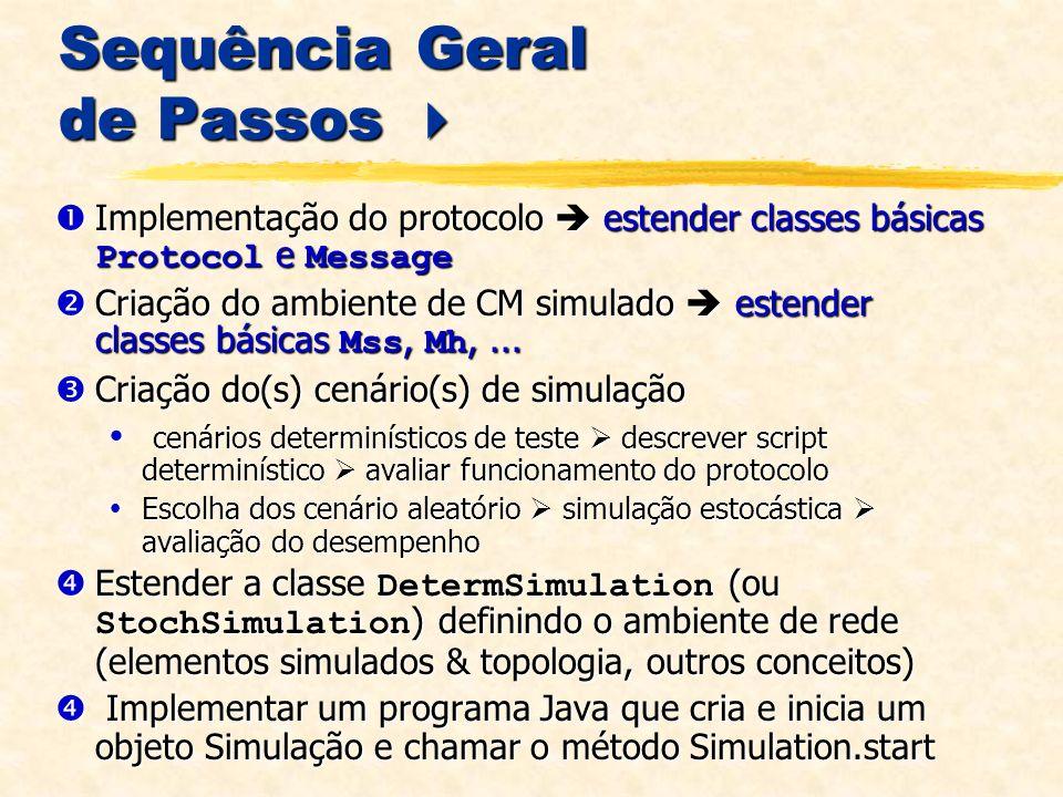 Sequência Geral de Passos Sequência Geral de Passos Implementação do protocolo estender classes básicas Protocol e Message Implementação do protocolo