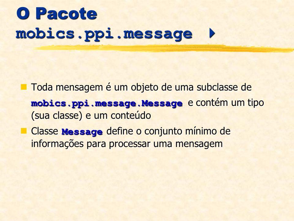 O Pacote mobics.ppi.message O Pacote mobics.ppi.message Toda mensagem é um objeto de uma subclasse de mobics.ppi.message.Message e contém um tipo (sua classe) e um conteúdo Toda mensagem é um objeto de uma subclasse de mobics.ppi.message.Message e contém um tipo (sua classe) e um conteúdo Classe Message define o conjunto mínimo de informações para processar uma mensagem Classe Message define o conjunto mínimo de informações para processar uma mensagem