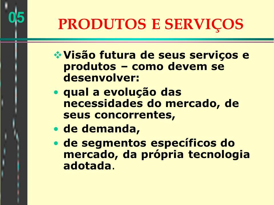 05 PRODUTOS E SERVIÇOS Visão futura de seus serviços e produtos – como devem se desenvolver: qual a evolução das necessidades do mercado, de seus conc
