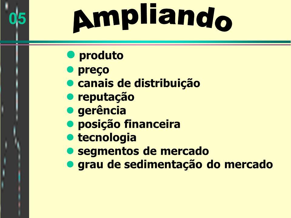 05 produto preço canais de distribuição reputação gerência posição financeira tecnologia segmentos de mercado grau de sedimentação do mercado