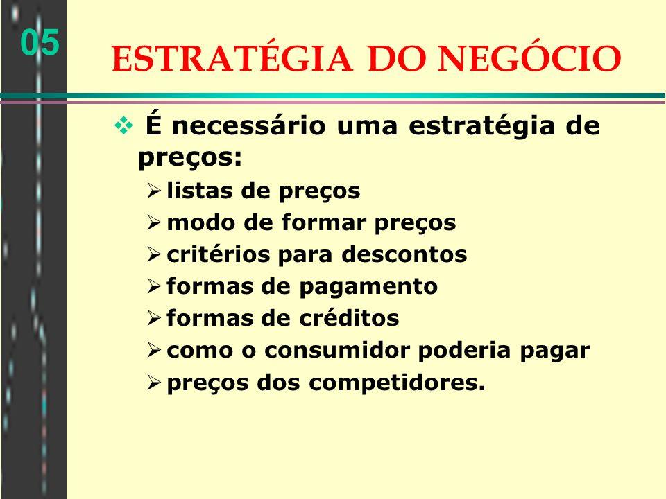 05 ESTRATÉGIA DO NEGÓCIO É necessário uma estratégia de preços: listas de preços modo de formar preços critérios para descontos formas de pagamento fo