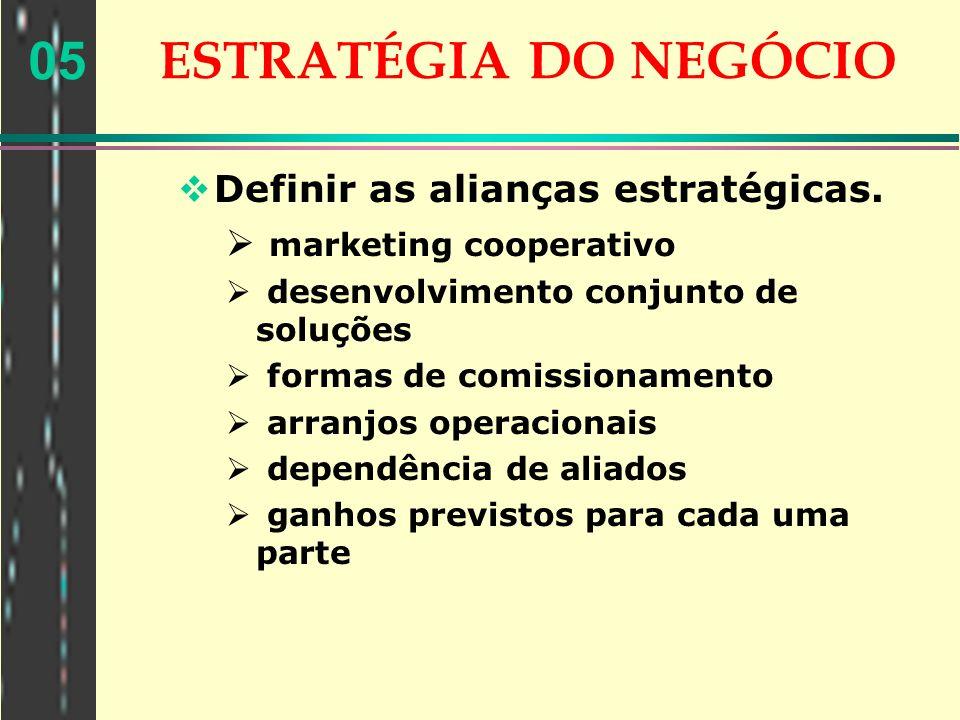 05 ESTRATÉGIA DO NEGÓCIO Definir as alianças estratégicas. marketing cooperativo desenvolvimento conjunto de soluções formas de comissionamento arranj