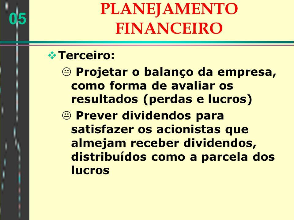 05 PLANEJAMENTO FINANCEIRO Terceiro: Projetar o balanço da empresa, como forma de avaliar os resultados (perdas e lucros) Prever dividendos para satis