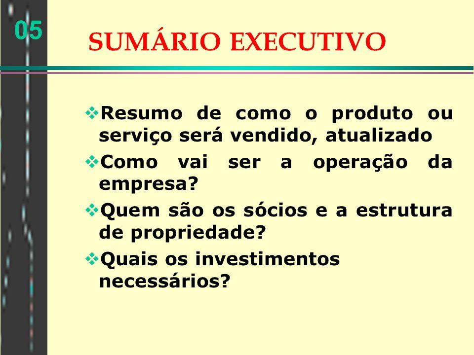 05 SUMÁRIO EXECUTIVO Resumo de como o produto ou serviço será vendido, atualizado Como vai ser a operação da empresa? Quem são os sócios e a estrutura