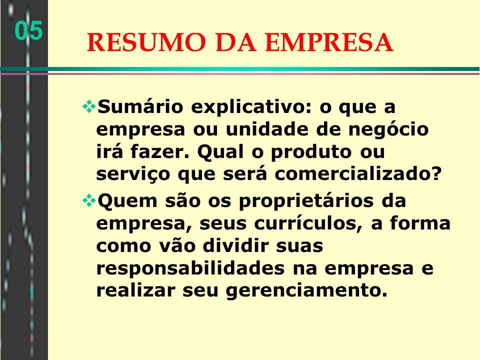 05 RESUMO DA EMPRESA Sumário explicativo: o que a empresa ou unidade de negócio irá fazer. Qual o produto ou serviço que será comercializado? Quem são