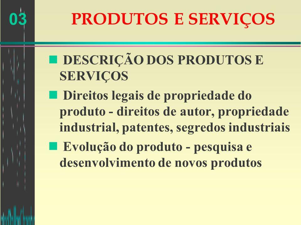03 PRODUTOS E SERVIÇOS n DESCRIÇÃO DOS PRODUTOS E SERVIÇOS n Direitos legais de propriedade do produto - direitos de autor, propriedade industrial, pa