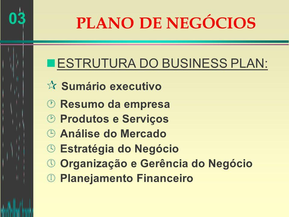 03 nESTRUTURA DO BUSINESS PLAN: ¶ Sumário executivo · Resumo da empresa ¸ Produtos e Serviços ¹ Análise do Mercado º Estratégia do Negócio » Organizaç