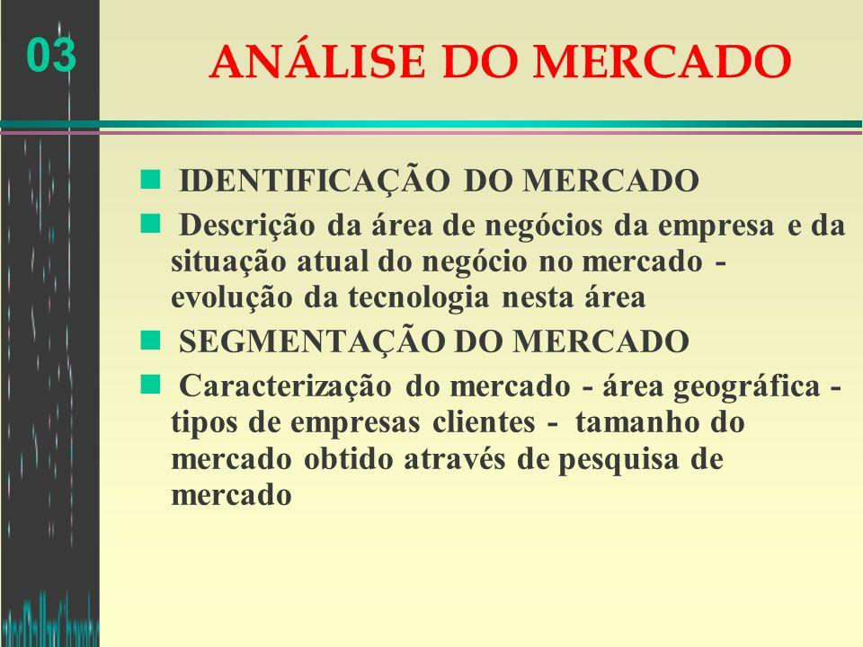 03 ANÁLISE DO MERCADO n IDENTIFICAÇÃO DO MERCADO n Descrição da área de negócios da empresa e da situação atual do negócio no mercado - evolução da te