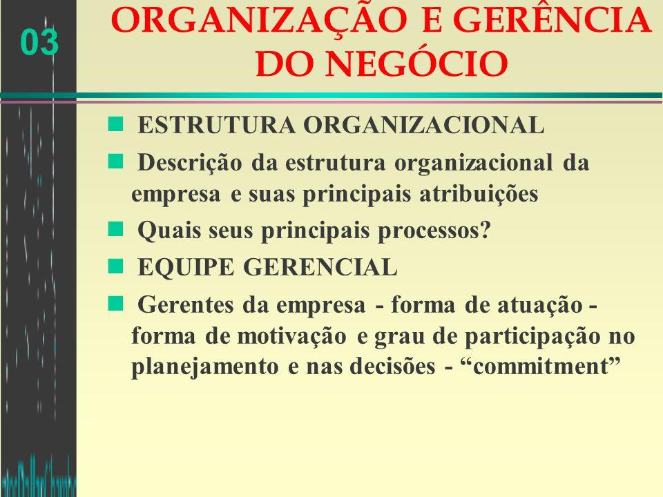 03 ORGANIZAÇÃO E GERÊNCIA DO NEGÓCIO n ESTRUTURA ORGANIZACIONAL n Descrição da estrutura organizacional da empresa e suas principais atribuições n Qua