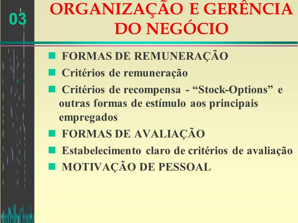 03 ORGANIZAÇÃO E GERÊNCIA DO NEGÓCIO n FORMAS DE REMUNERAÇÃO n Critérios de remuneração n Critérios de recompensa - Stock-Options e outras formas de e