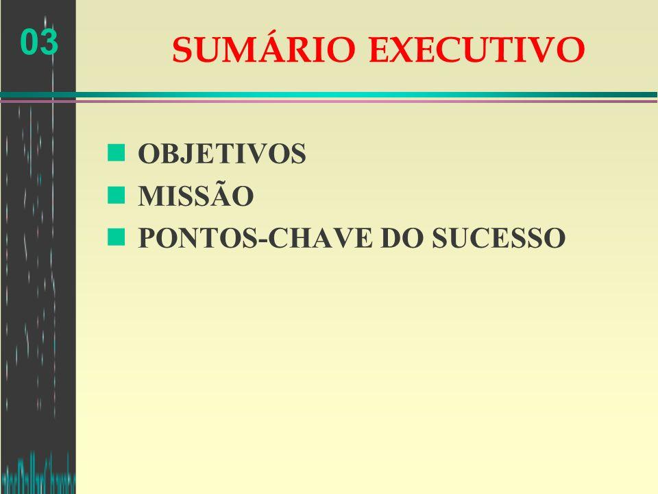 03 SUMÁRIO EXECUTIVO n OBJETIVOS n MISSÃO n PONTOS-CHAVE DO SUCESSO
