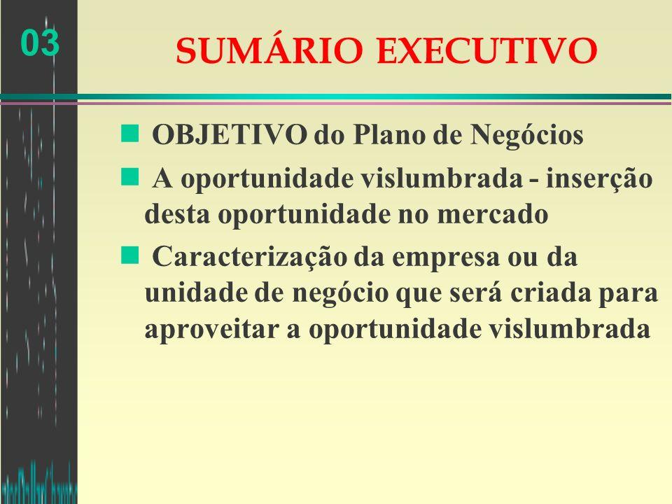03 SUMÁRIO EXECUTIVO n OBJETIVO do Plano de Negócios n A oportunidade vislumbrada - inserção desta oportunidade no mercado n Caracterização da empresa