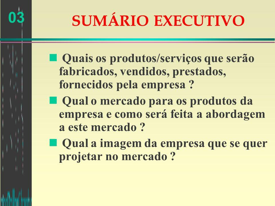 03 SUMÁRIO EXECUTIVO n Quais os produtos/serviços que serão fabricados, vendidos, prestados, fornecidos pela empresa ? n Qual o mercado para os produt