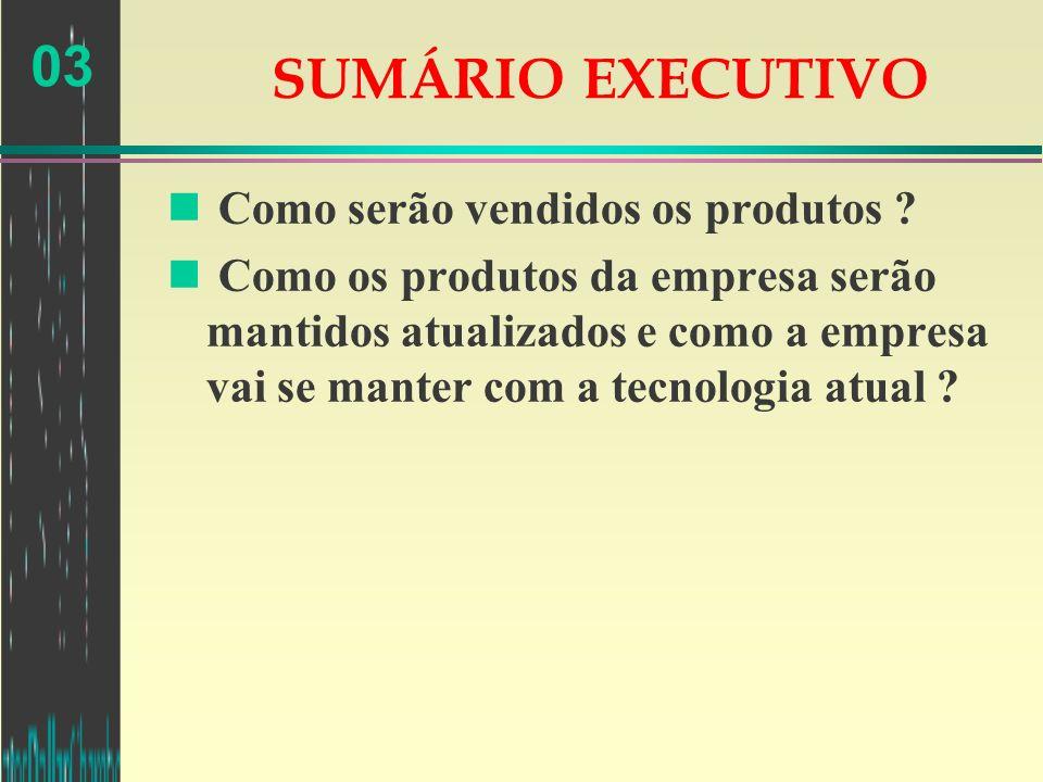 03 SUMÁRIO EXECUTIVO n Como serão vendidos os produtos ? n Como os produtos da empresa serão mantidos atualizados e como a empresa vai se manter com a