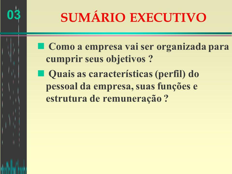 03 SUMÁRIO EXECUTIVO n Como a empresa vai ser organizada para cumprir seus objetivos ? n Quais as características (perfil) do pessoal da empresa, suas