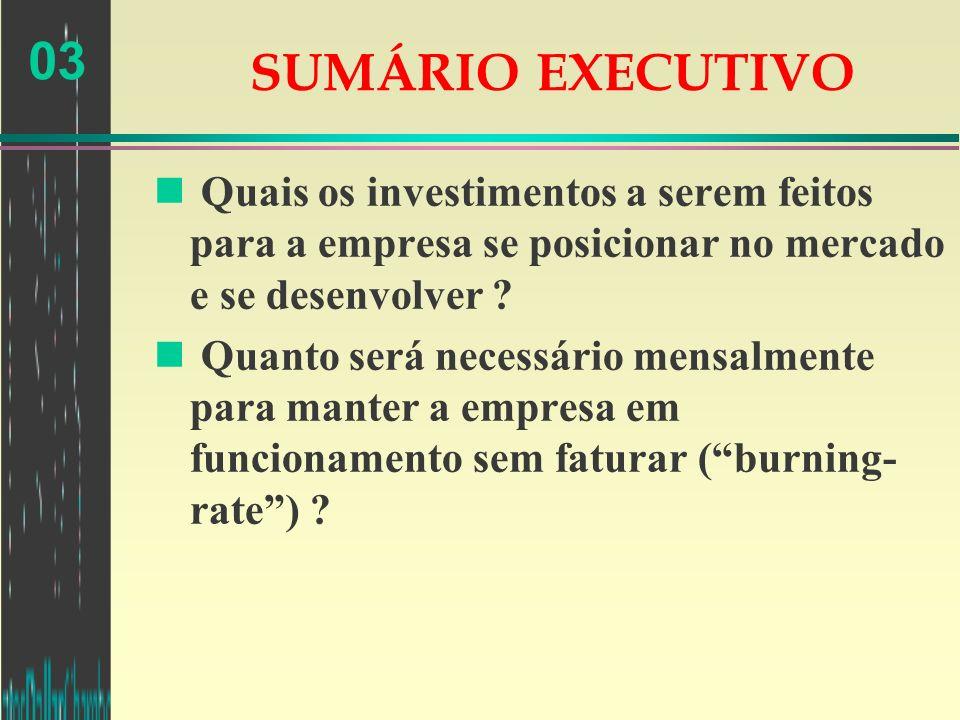 03 SUMÁRIO EXECUTIVO n Quais os investimentos a serem feitos para a empresa se posicionar no mercado e se desenvolver ? n Quanto será necessário mensa