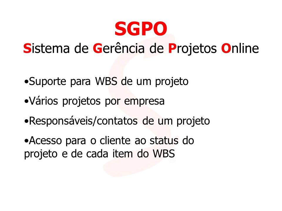 SGPO Sistema de Gerência de Projetos Online Suporte para WBS de um projeto Vários projetos por empresa Responsáveis/contatos de um projeto Acesso para o cliente ao status do projeto e de cada item do WBS
