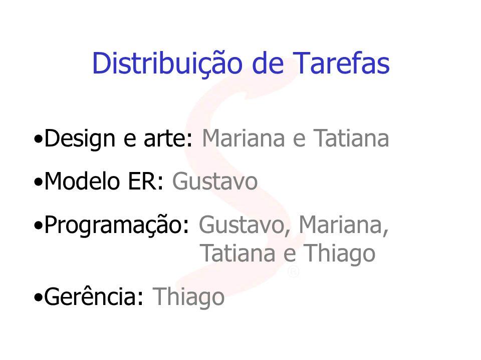Distribuição de Tarefas Design e arte: Mariana e Tatiana Modelo ER: Gustavo Programação: Gustavo, Mariana, Tatiana e Thiago Gerência: Thiago
