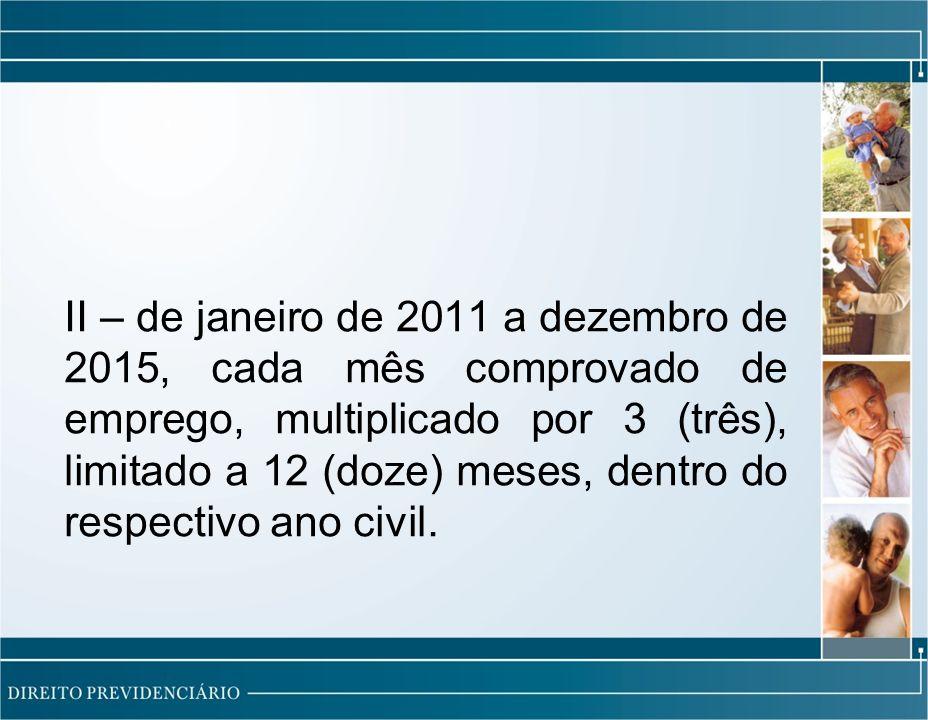 II – de janeiro de 2011 a dezembro de 2015, cada mês comprovado de emprego, multiplicado por 3 (três), limitado a 12 (doze) meses, dentro do respectivo ano civil.