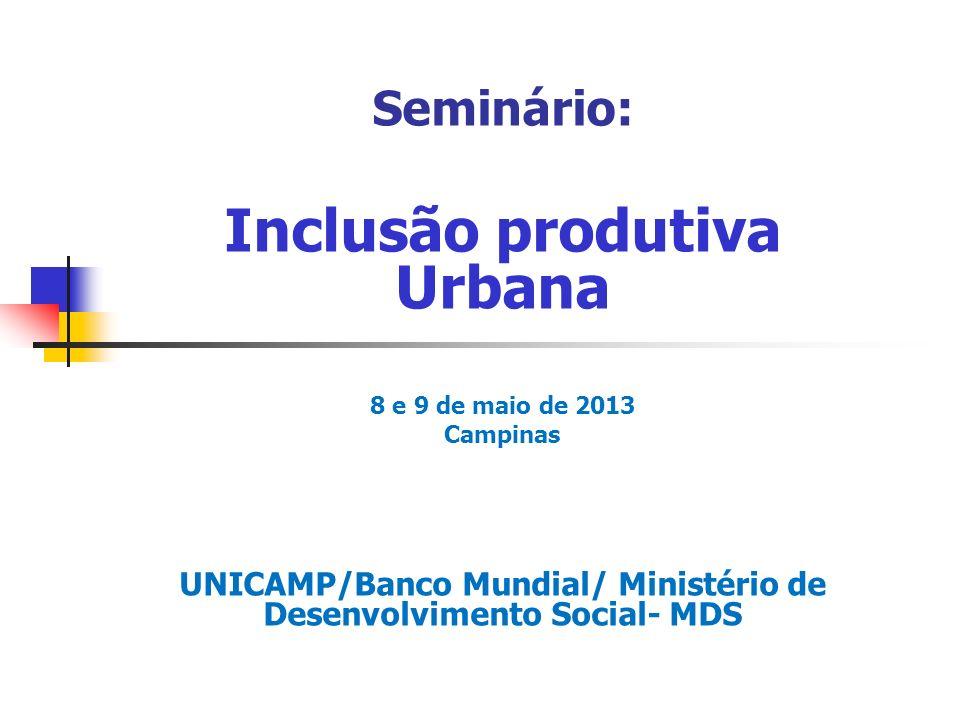Seminário: Inclusão produtiva Urbana 8 e 9 de maio de 2013 Campinas UNICAMP/Banco Mundial/ Ministério de Desenvolvimento Social- MDS