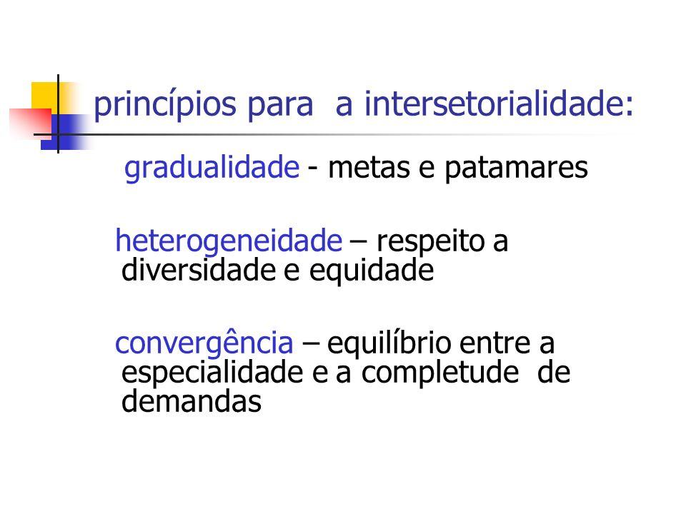 princípios para a intersetorialidade: gradualidade - metas e patamares heterogeneidade – respeito a diversidade e equidade convergência – equilíbrio e
