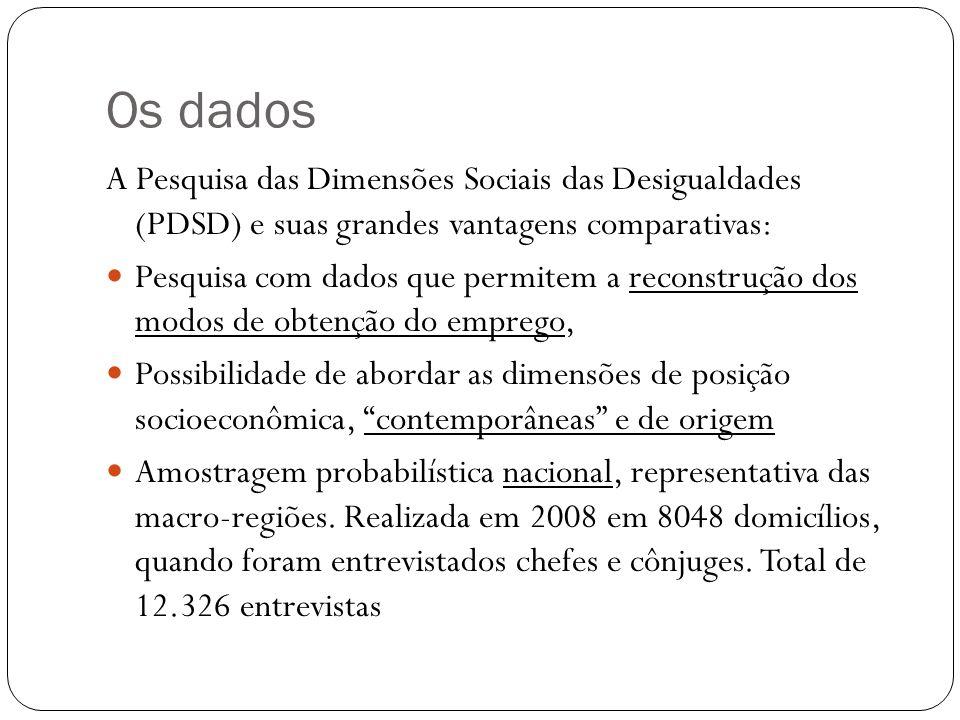 Os dados A Pesquisa das Dimensões Sociais das Desigualdades (PDSD) e suas grandes vantagens comparativas: Pesquisa com dados que permitem a reconstrução dos modos de obtenção do emprego, Possibilidade de abordar as dimensões de posição socioeconômica, contemporâneas e de origem Amostragem probabilística nacional, representativa das macro-regiões.