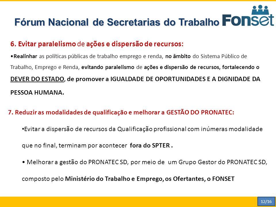 Fórum Nacional de Secretarias do Trabalho 6.