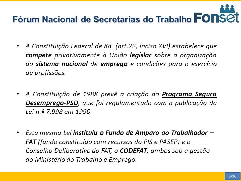 Fórum Nacional de Secretarias do Trabalho A Constituição Federal de 88 (art.22, inciso XVI) estabelece que compete privativamente à União legislar sobre a organização do sistema nacional de emprego e condições para o exercício de profissões.