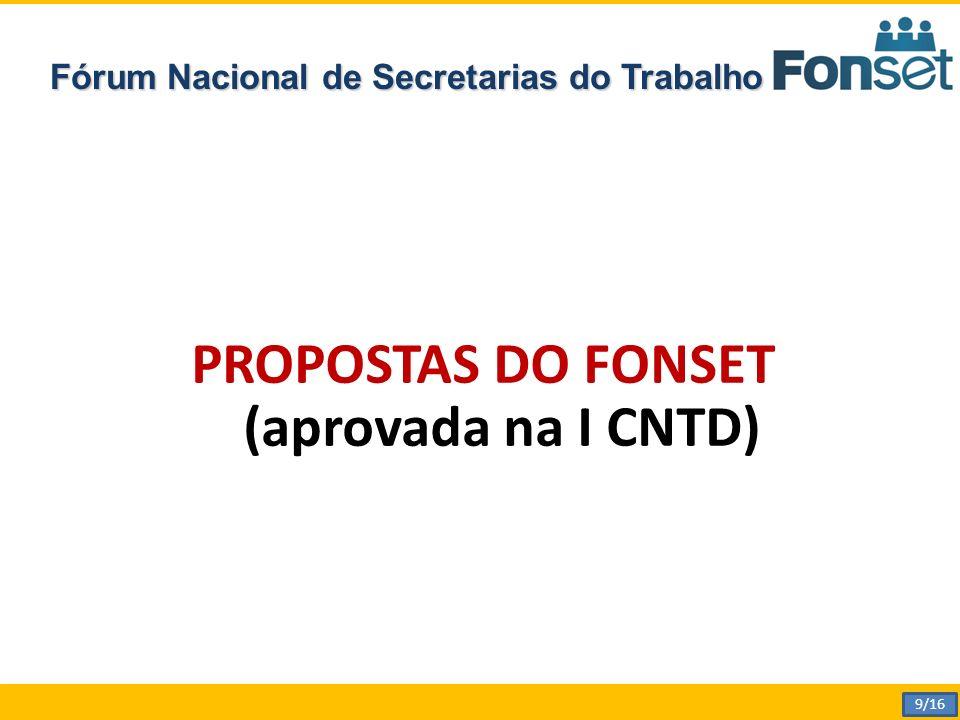Fórum Nacional de Secretarias do Trabalho PROPOSTAS DO FONSET (aprovada na I CNTD) 9/16
