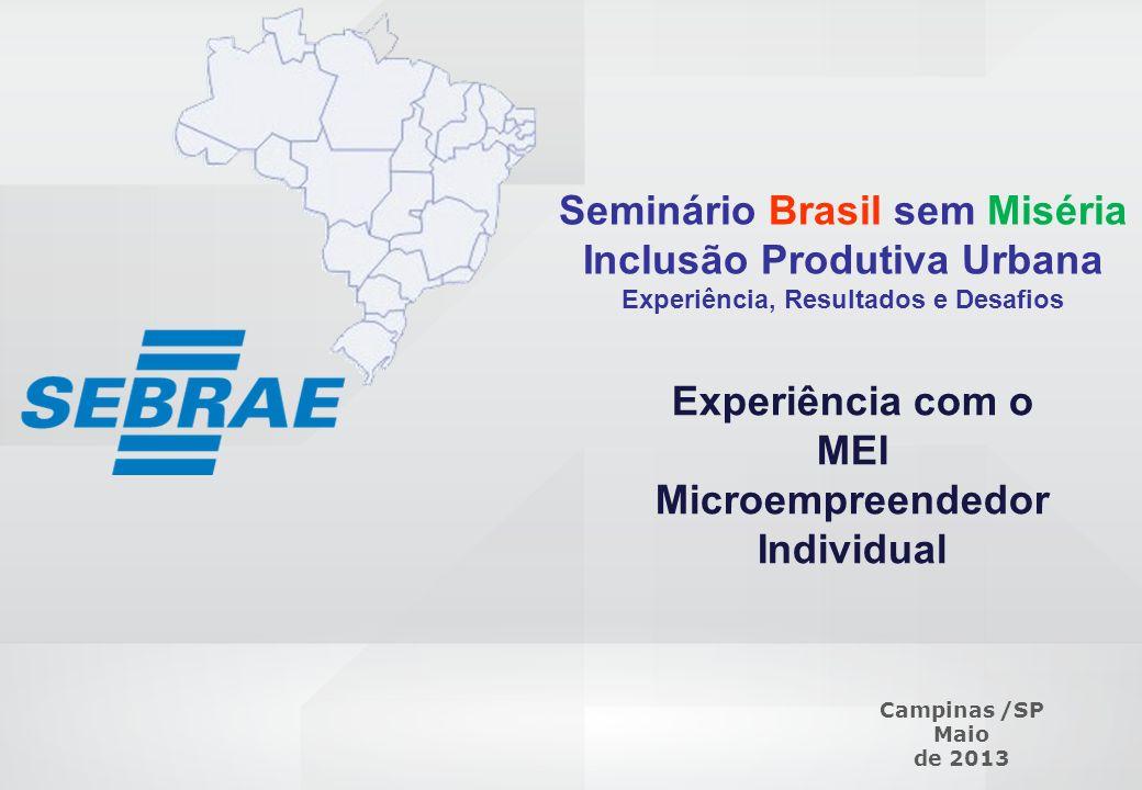 SEBRAE 0800 570 0800 / www.sebrae.com.br Seminário Brasil sem Miséria Inclusão Produtiva Urbana Experiência, Resultados e Desafios Experiência com o M