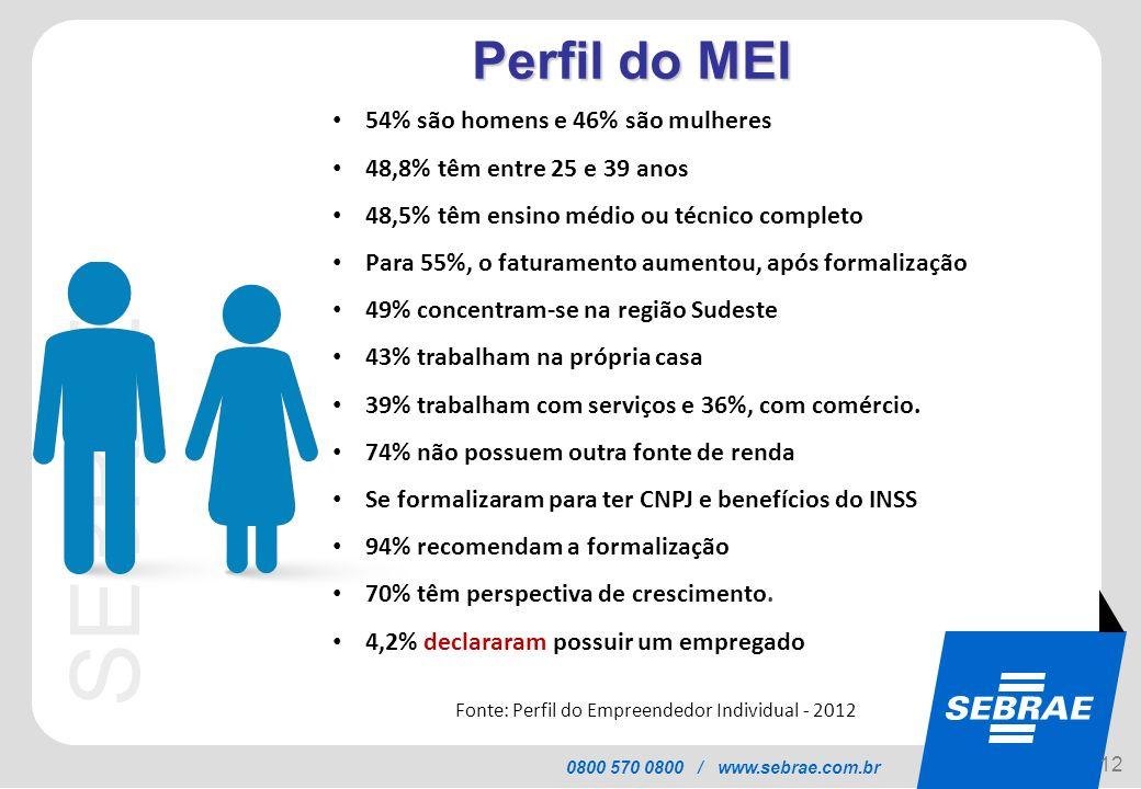 SEBRAE 0800 570 0800 / www.sebrae.com.br Características do MEI Perfil do MEI 12 54% são homens e 46% são mulheres 48,8% têm entre 25 e 39 anos 48,5%