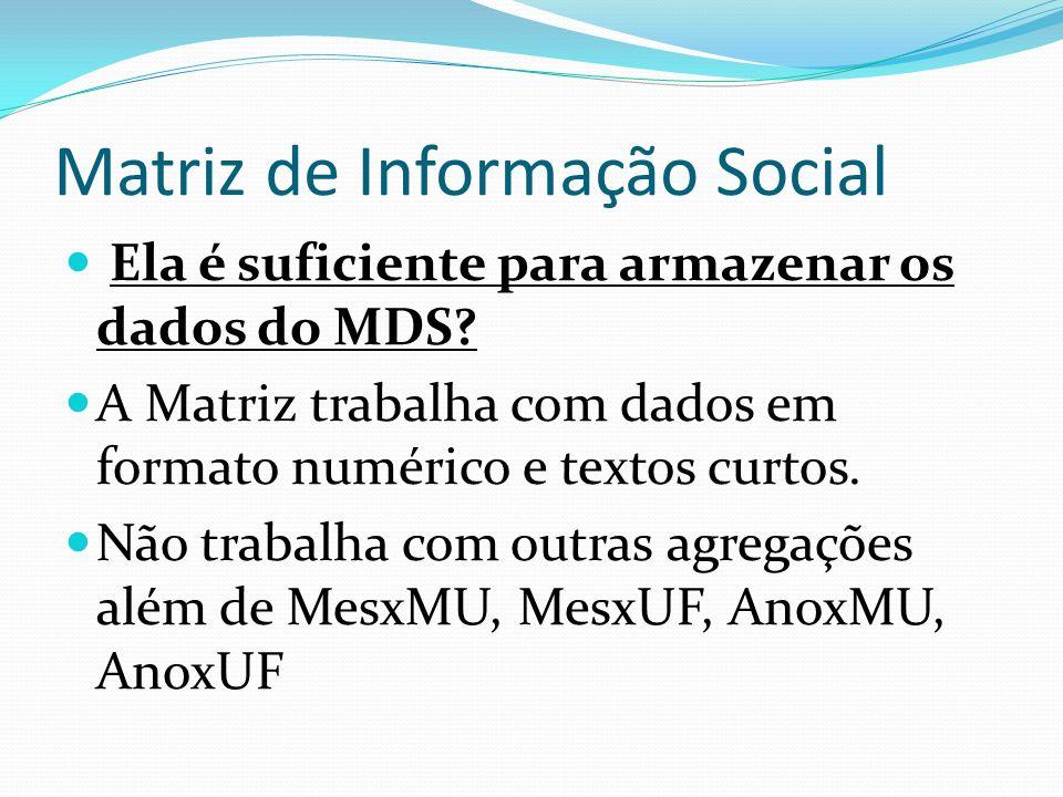 Matriz de Informação Social Ela é suficiente para armazenar os dados do MDS? A Matriz trabalha com dados em formato numérico e textos curtos. Não trab