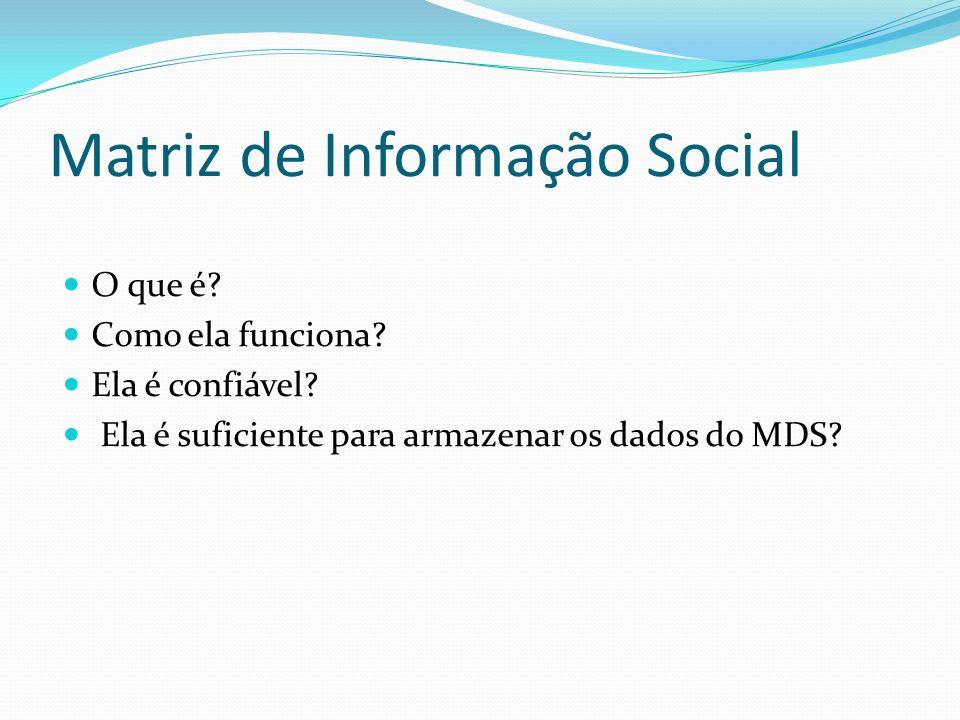 Matriz de Informação Social O que é? Como ela funciona? Ela é confiável? Ela é suficiente para armazenar os dados do MDS?