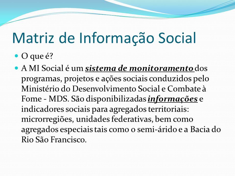 Matriz de Informação Social O que é? A MI Social é um sistema de monitoramento dos programas, projetos e ações sociais conduzidos pelo Ministério do D