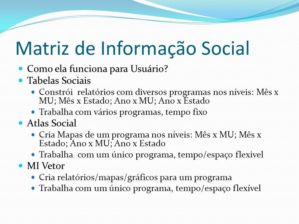 Matriz de Informação Social Como ela funciona para Usuário? Tabelas Sociais Constrói relatórios com diversos programas nos níveis: Mês x MU; Mês x Est