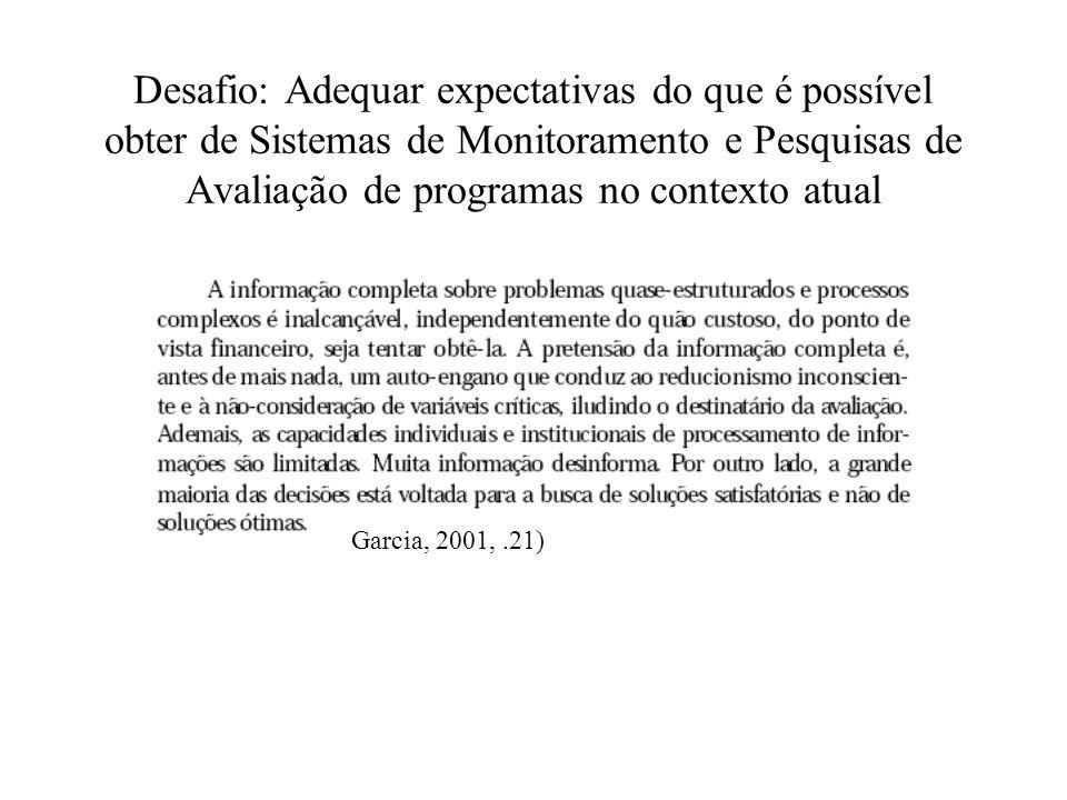 Desafio: Adequar expectativas do que é possível obter de Sistemas de Monitoramento e Pesquisas de Avaliação de programas no contexto atual Garcia, 200
