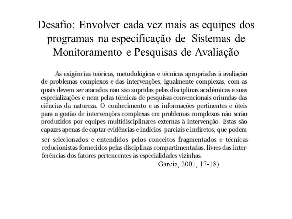 Desafio: Envolver cada vez mais as equipes dos programas na especificação de Sistemas de Monitoramento e Pesquisas de Avaliação Garcia, 2001, 17-18)