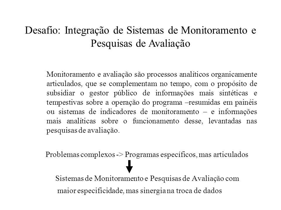 Monitoramento e avaliação são processos analíticos organicamente articulados, que se complementam no tempo, com o propósito de subsidiar o gestor públ
