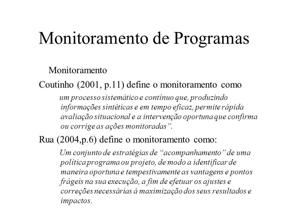 Monitoramento de Programas Monitoramento Coutinho (2001, p.11) define o monitoramento como um processo sistemático e contínuo que, produzindo informaç